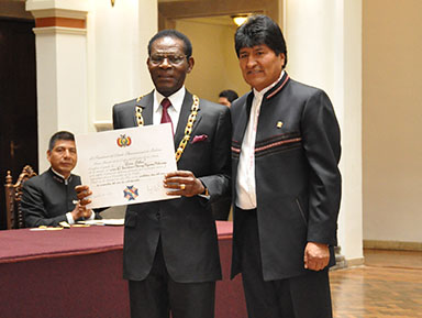 Presidente Obiang y Presidente Morales